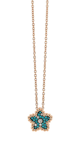 Palladio Pendant in 18k Rose Gold with Diamonds and Turquoise