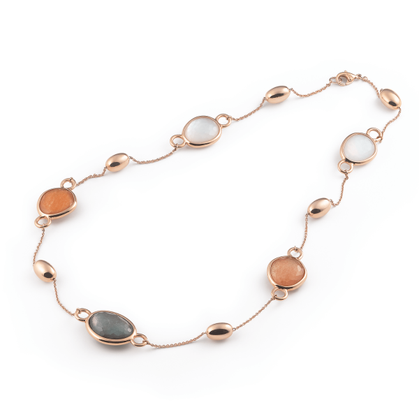 Candy Necklace in 18k Rose Gold with White, Grey, and Brown Mother of Pearl
