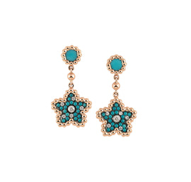 Palladio Drop Earrings in 18k Rose Gold with Turquoise & Diamonds