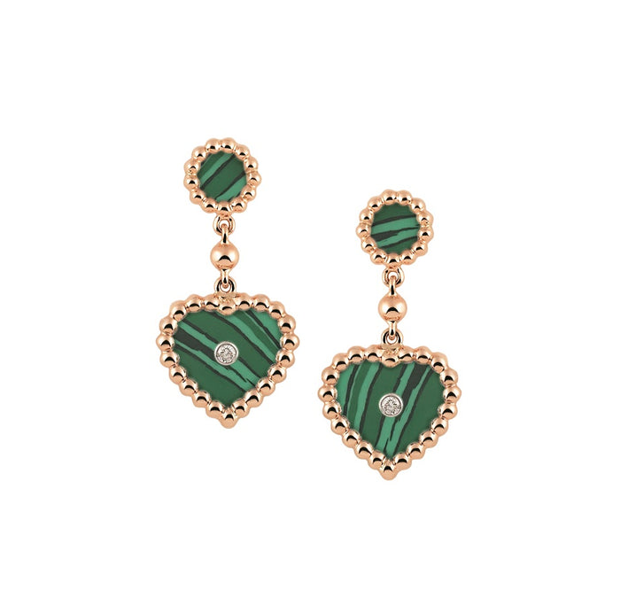 Palladio Drop Earrings in 18k Rose Gold with Malachite and Diamonds