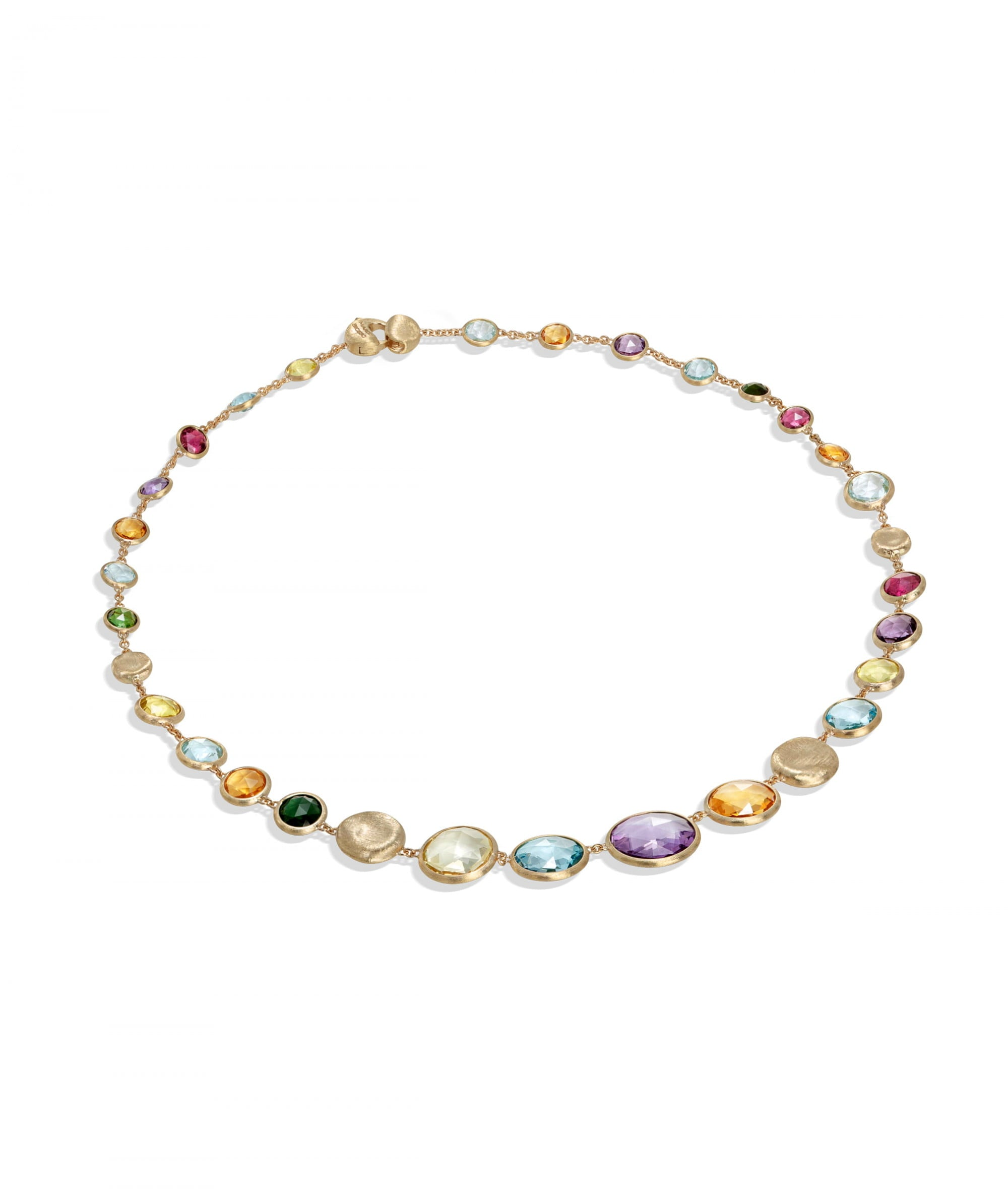 Jaipur Colour Necklace in 18k Yellow Gold with Gemstones Short - Orsini Jewellers NZ