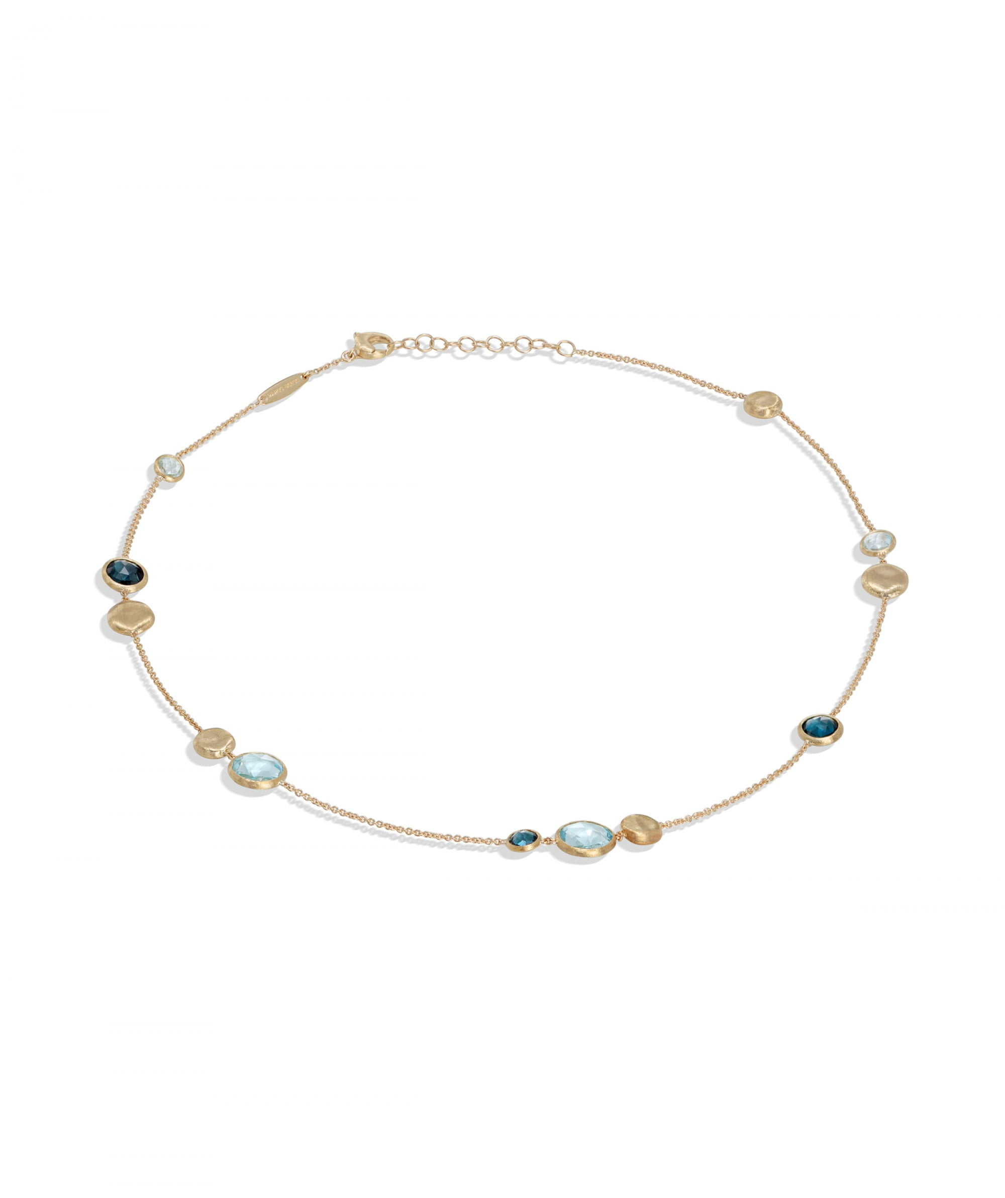 Jaipur Colour Necklace in 18k Yellow Gold with Gemstones Mixed Blues Short - Orsini Jewellers NZ