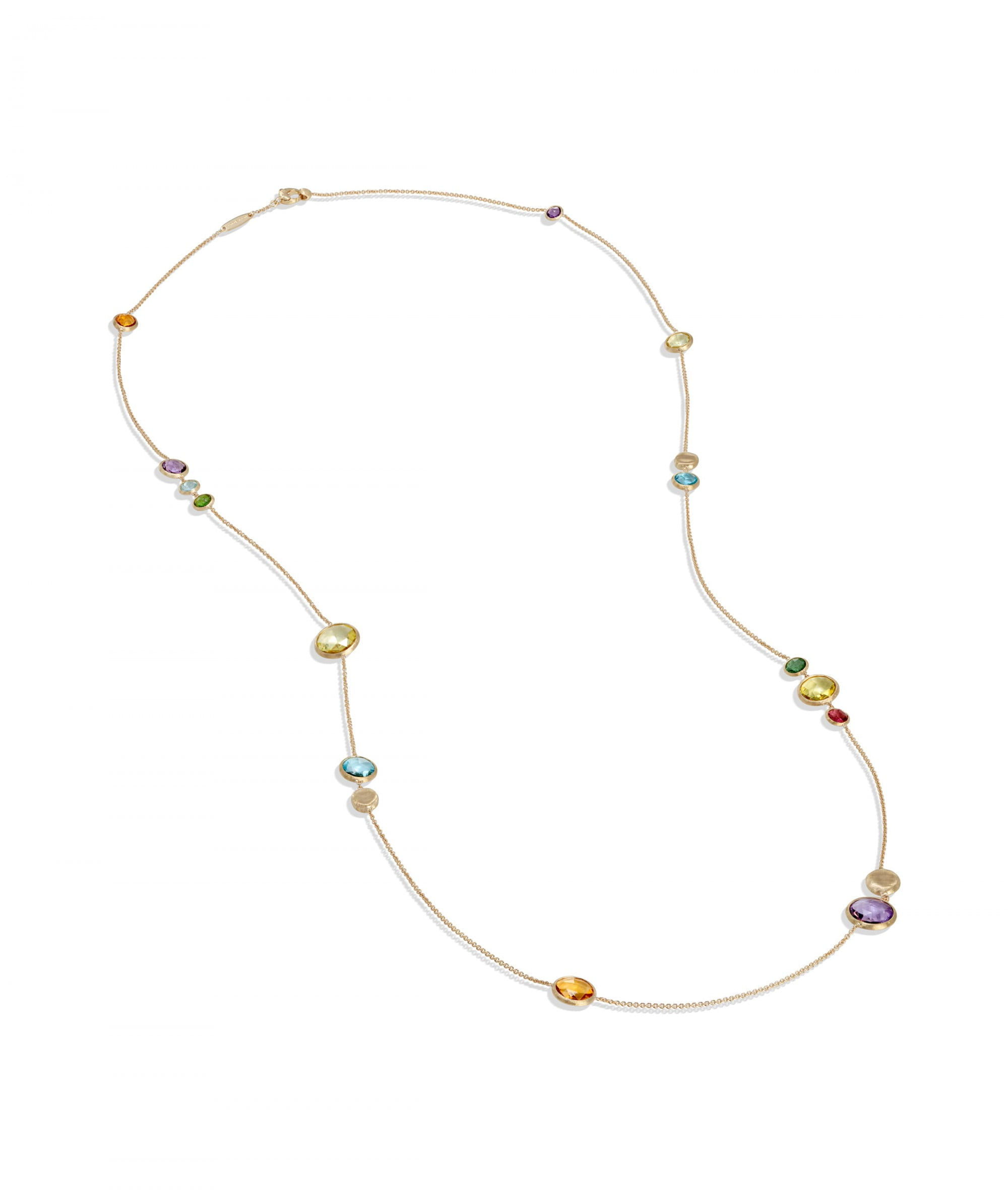 Jaipur Light Colour Necklace in 18k Yellow Gold with Mixed Gemstones Long - Orsini Jewellers NZ