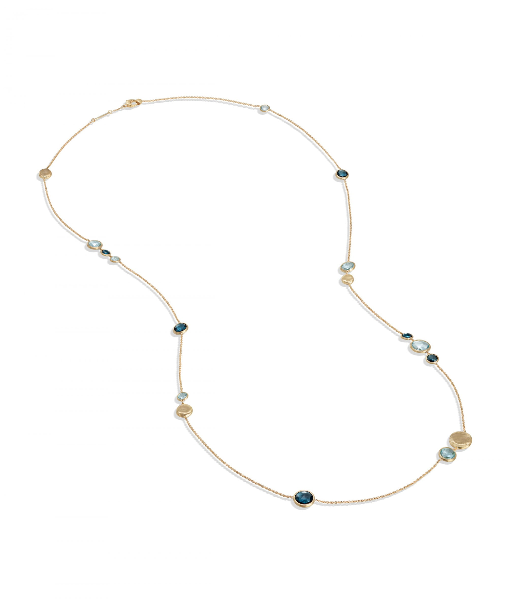 Jaipur Colour Necklace in 18k Yellow Gold with Gemstones Mixed Blue Long - Orsini Jewellers NZ