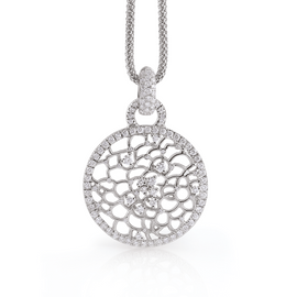 Amalfi Pendant in 18k White Gold with Diamonds