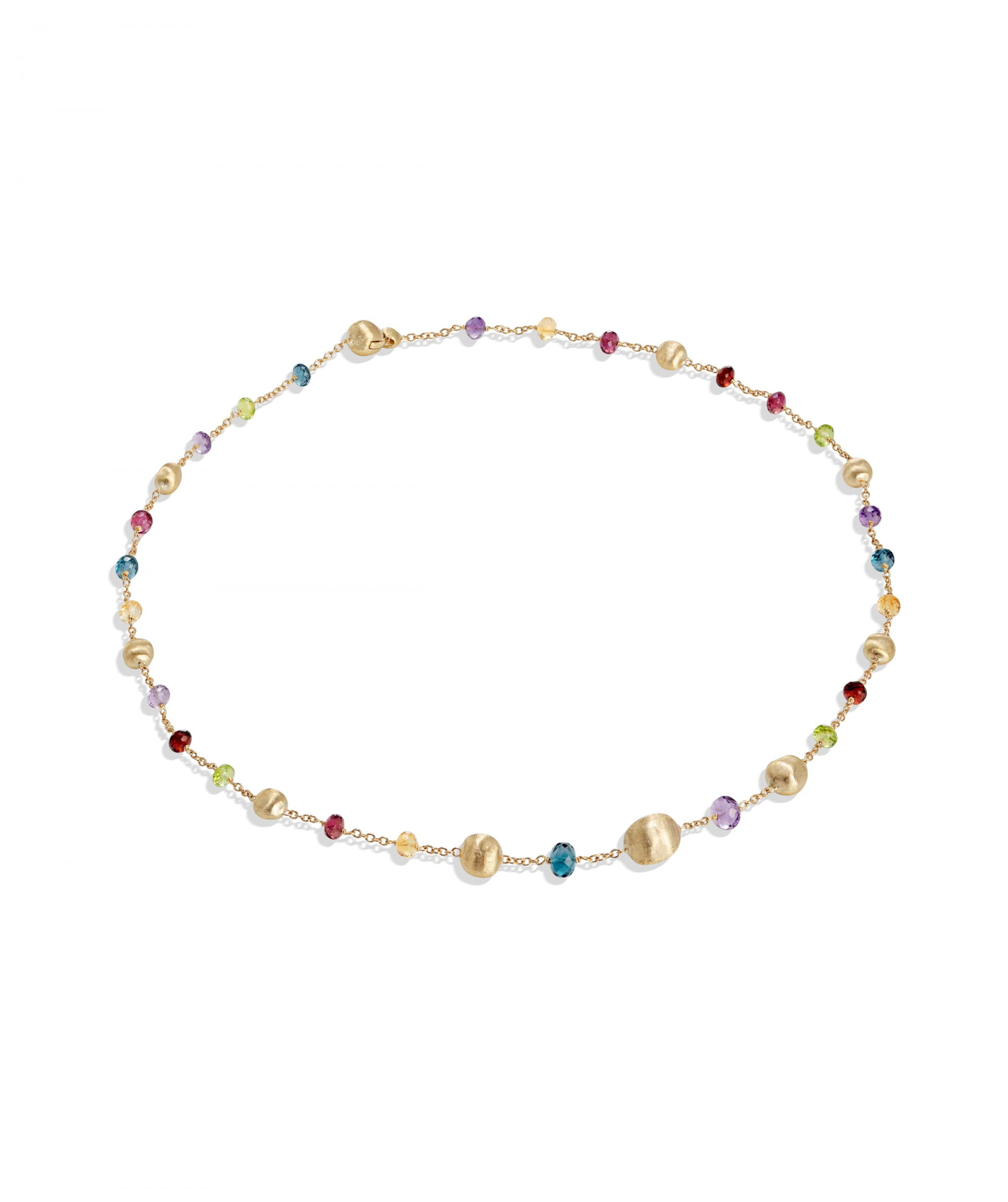Africa Gemstone Necklace in 18k Yellow Gold with Mixed Gemstones Short - Orsini Jewellers NZ
