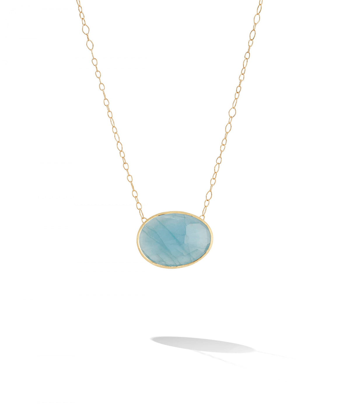 Lunaria Necklace in 18k Yellow Gold with Aquamarine Pendant