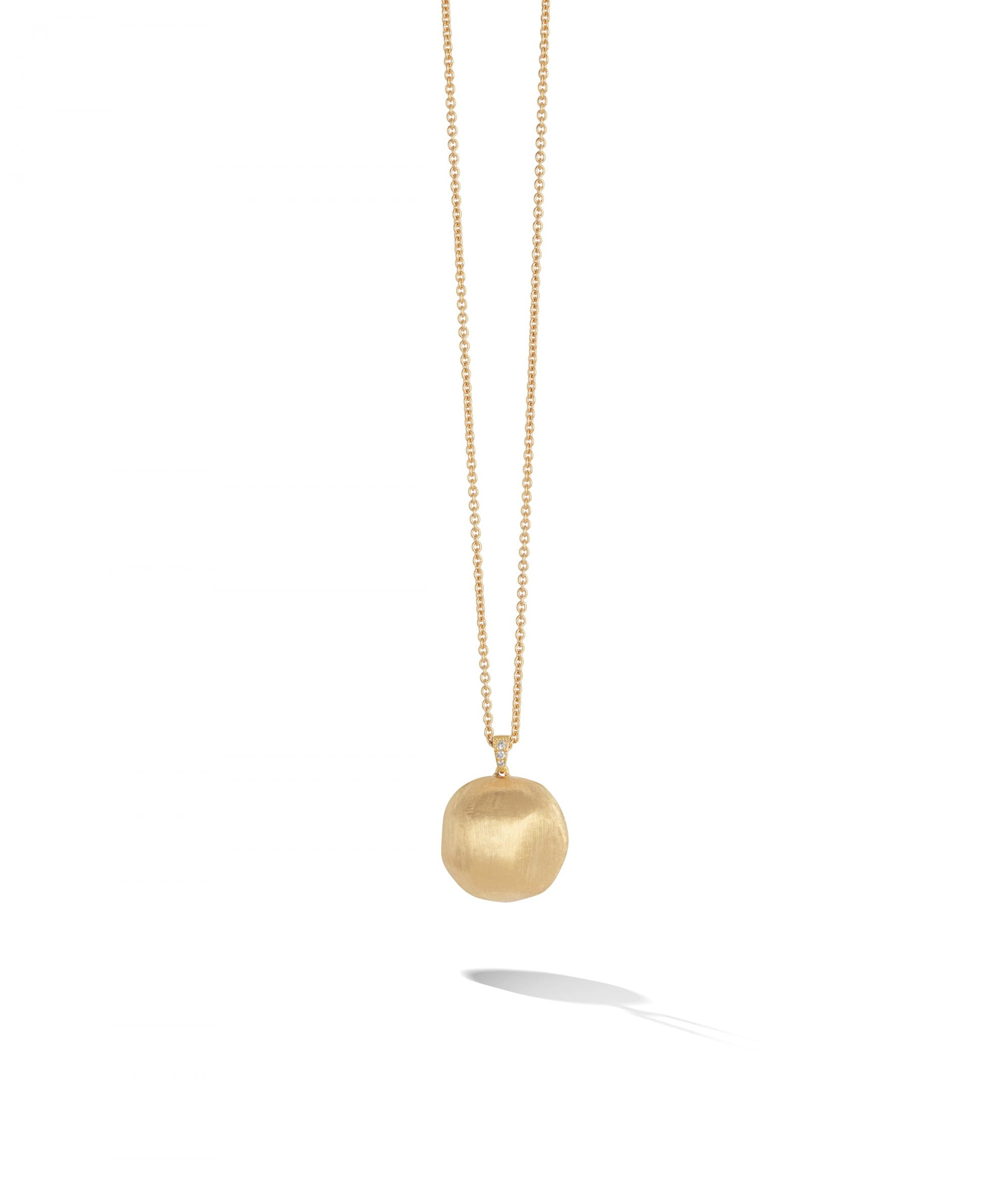 Africa Necklace in 18k Yellow Gold Spherical Pendant with Diamond-studded Bail Long - Orsini Jewellers NZ