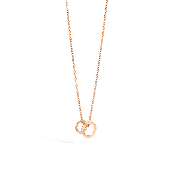 Brera Pendant with Necklace in 18k Rose Gold with Brown Diamonds