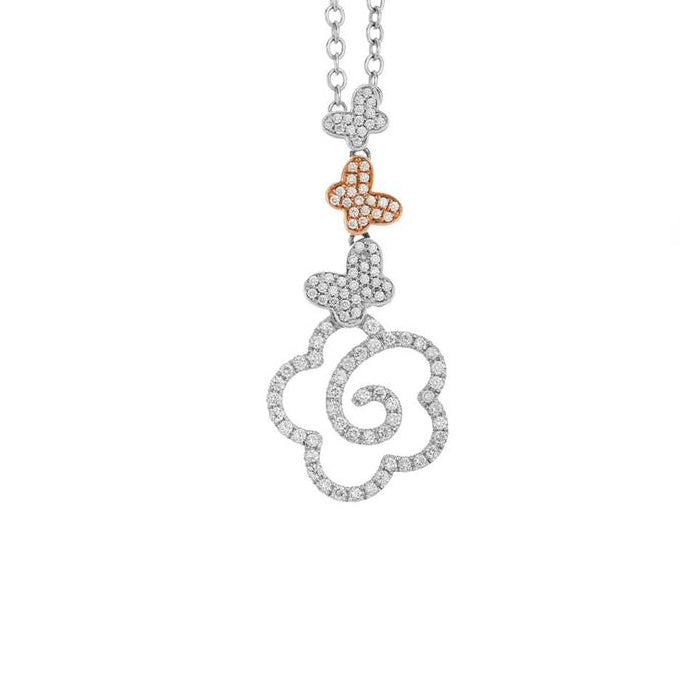 New Pop 18k White & Rose Gold with Butterfly & Flower Pendant