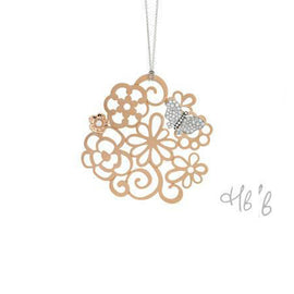 New Pop Butterfly 18k Rose Gold and Diamond Detail Large Filigree Pendant