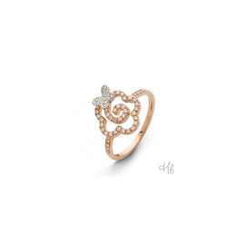 New Pop Flower & Butterfly 18k Rose Gold and Diamond Ring
