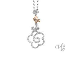 New Pop Three Butterfly 18k Gold and Diamond Pave Pendant