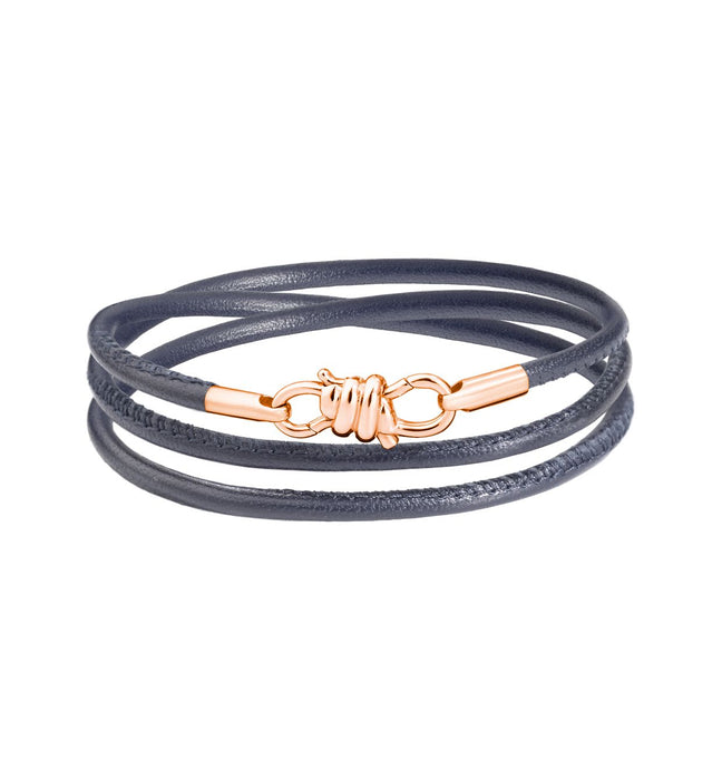 Dodo Nodo Bracelet in 9k Rose Gold with Grey Napper Leather