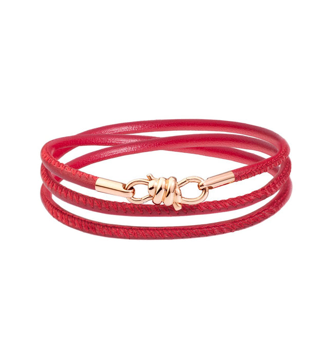 DoDo Nodo Bracelet in 9k Rose Gold with Burgundy Napper Leather