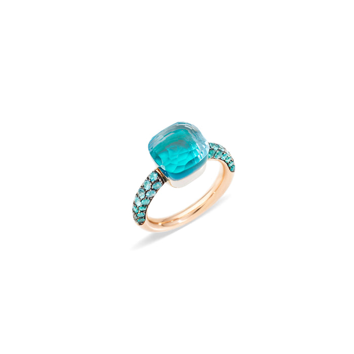 Nudo Deep Blue Ring in 18k Rose Gold and White Gold with Sky Blue Topaz, Agate and Diffused Topaz