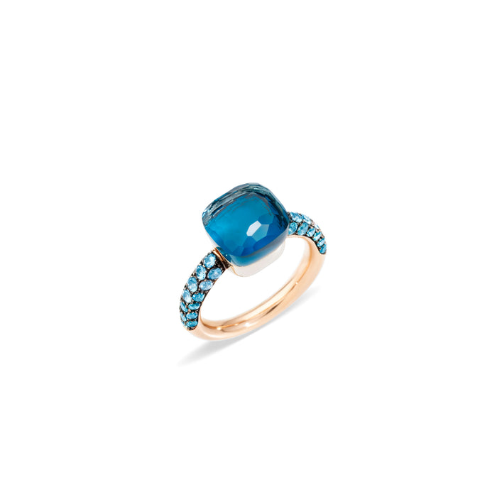 Nudo Deep Blue Ring in 18k Rose Gold and White Gold with London Blue Topaz, Turquoise and Diffused Topaz