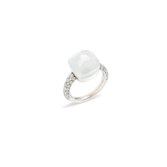 Nudo Maxi Diamond Ring in 18k White Gold with Moonstone and Diamonds