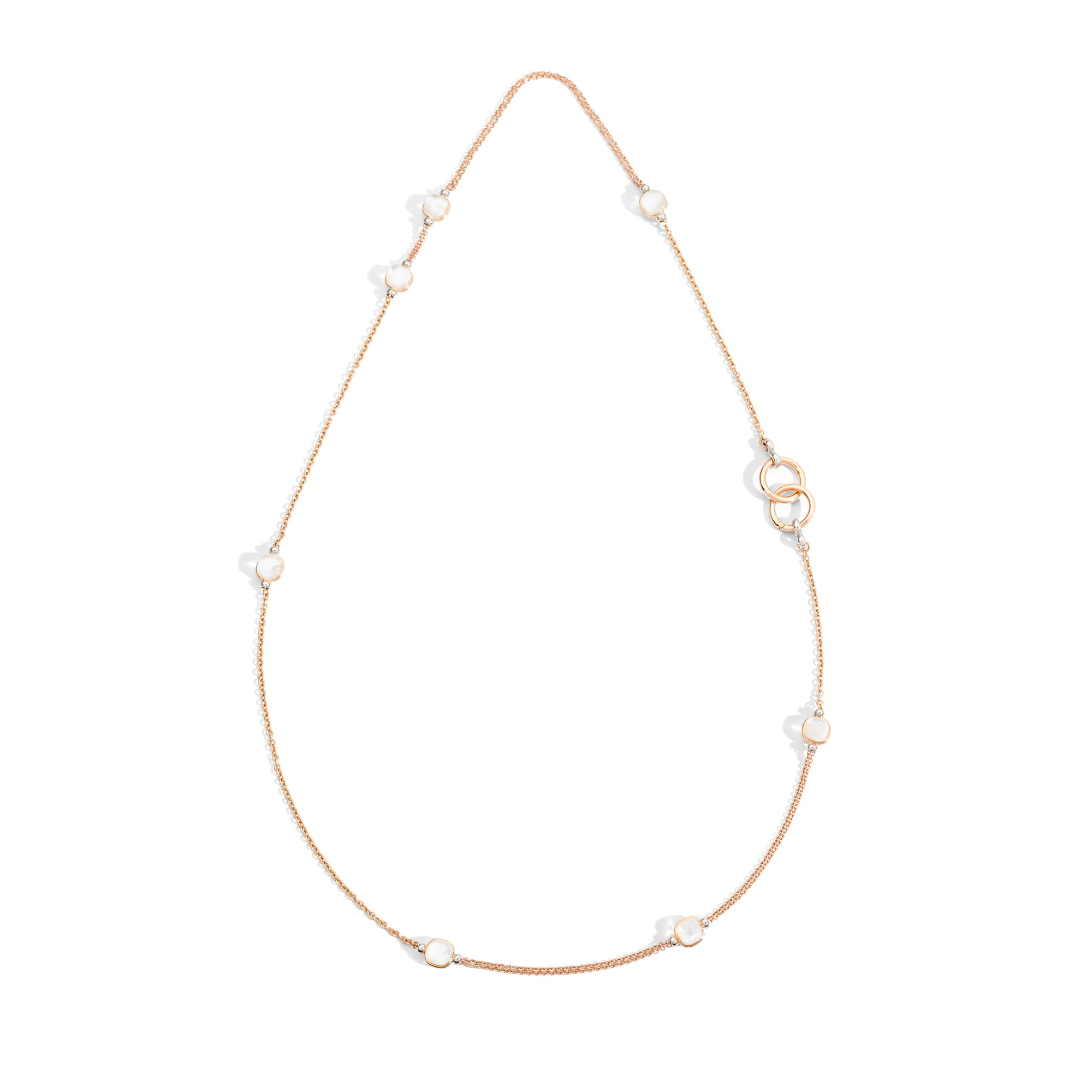 Nudo Necklace in 18k Rose and White Gold with Mother of Pearl and White Topaz - Orsini Jewellers NZ