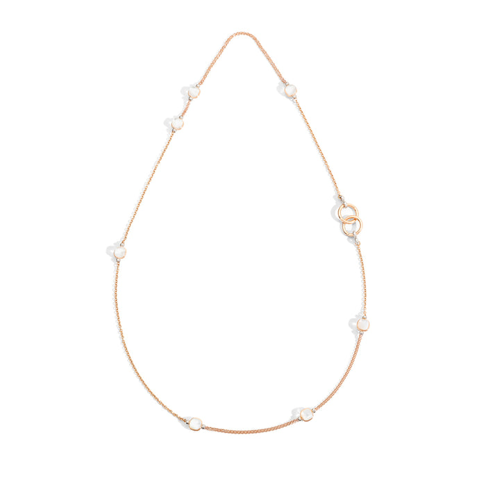 Nudo Necklace in 18k Rose and White Gold with Mother of Pearl and White Topaz