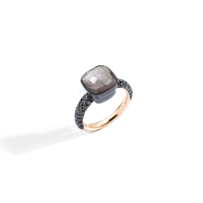 Nudo Classic Ring in 18k Rose Gold and Titanium with Obsidian and Black Diamonds