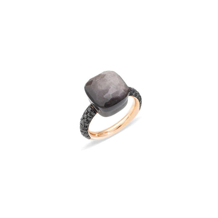 Nudo Maxi Ring in 18k Rose Gold and Titanium with Obsidian and Black Diamonds