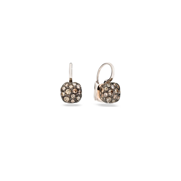 Nudo Petit Earrings in 18k Rose and White Gold with Brown Diamonds