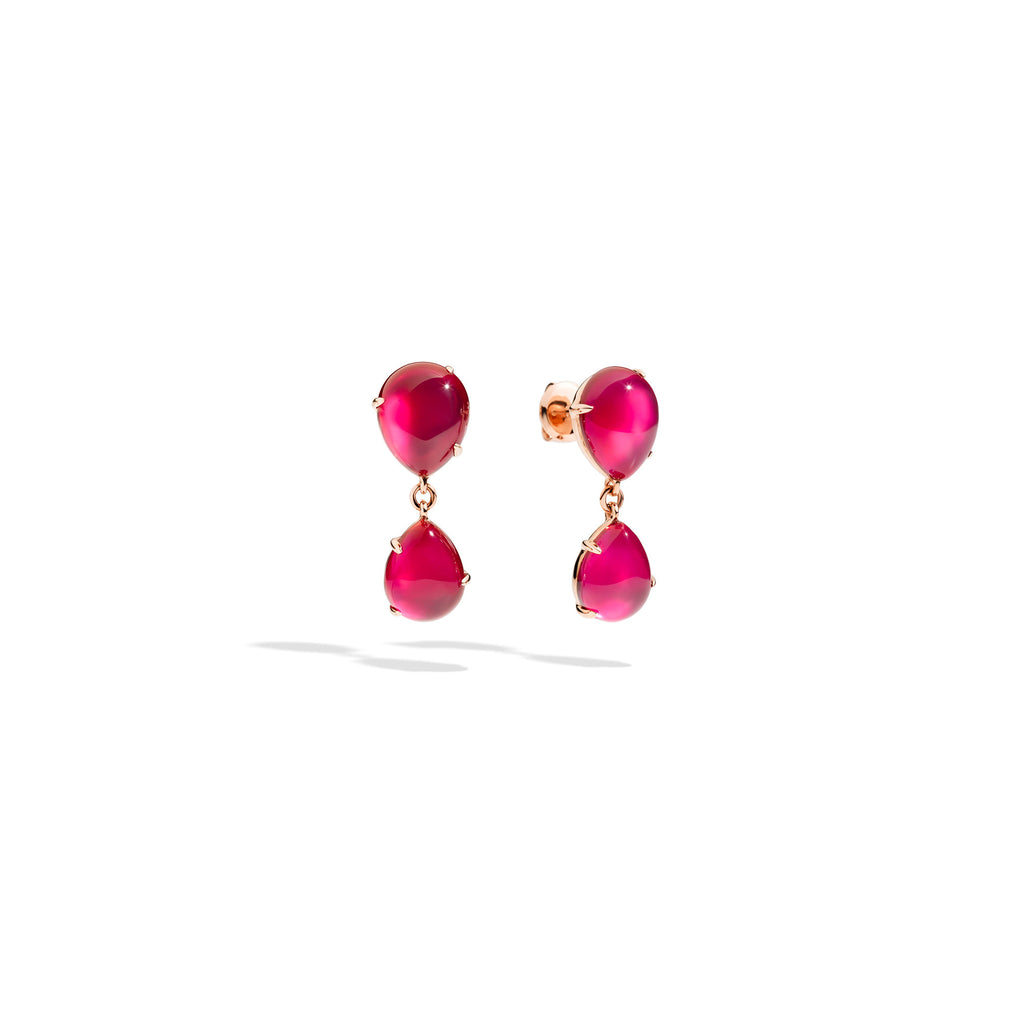 Rouge Passion Red Ruby Rose Gold Drop Earrings