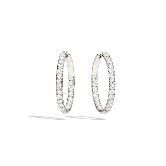 Tango Earrings in Rhodium Plated White Gold with 48 Diamonds