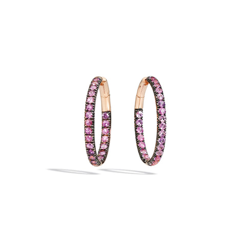 Tango Earrings in 18k Rose Gold with 48 Pink Sapphires
