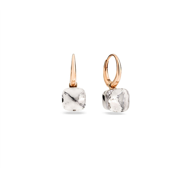 Earrings Nudo in Rose Gold and White Gold with White Topaz