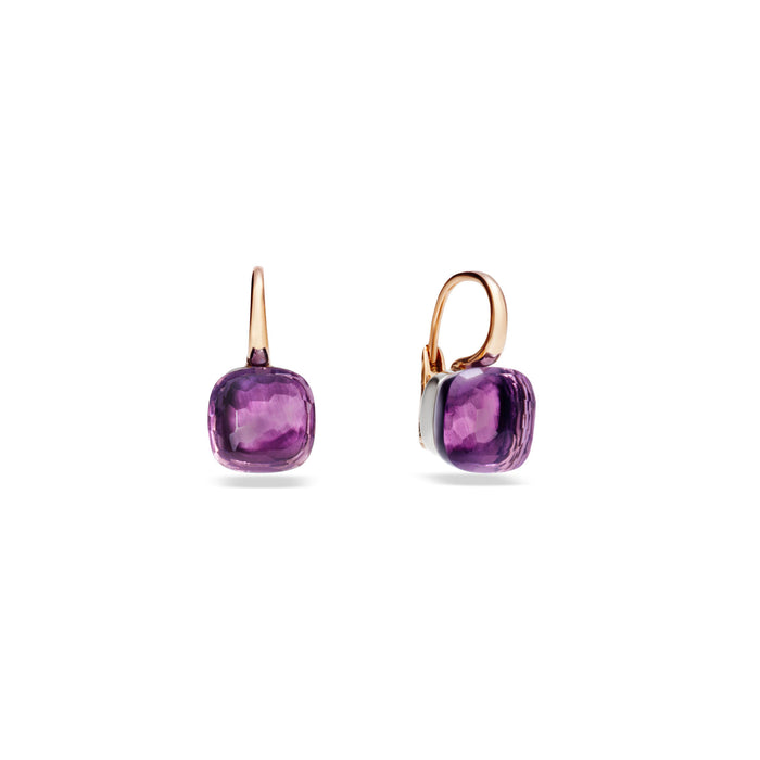 Nudo Classic Earrings in 18K Rose Gold and White Gold with Amethyst