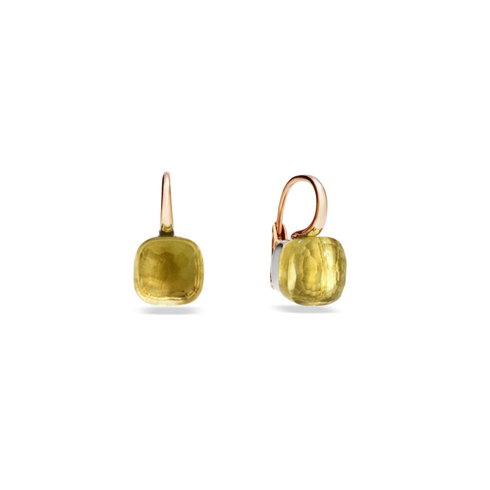 Nudo Classic Earrings in 18k Rose and White Gold with Lemon Quartz