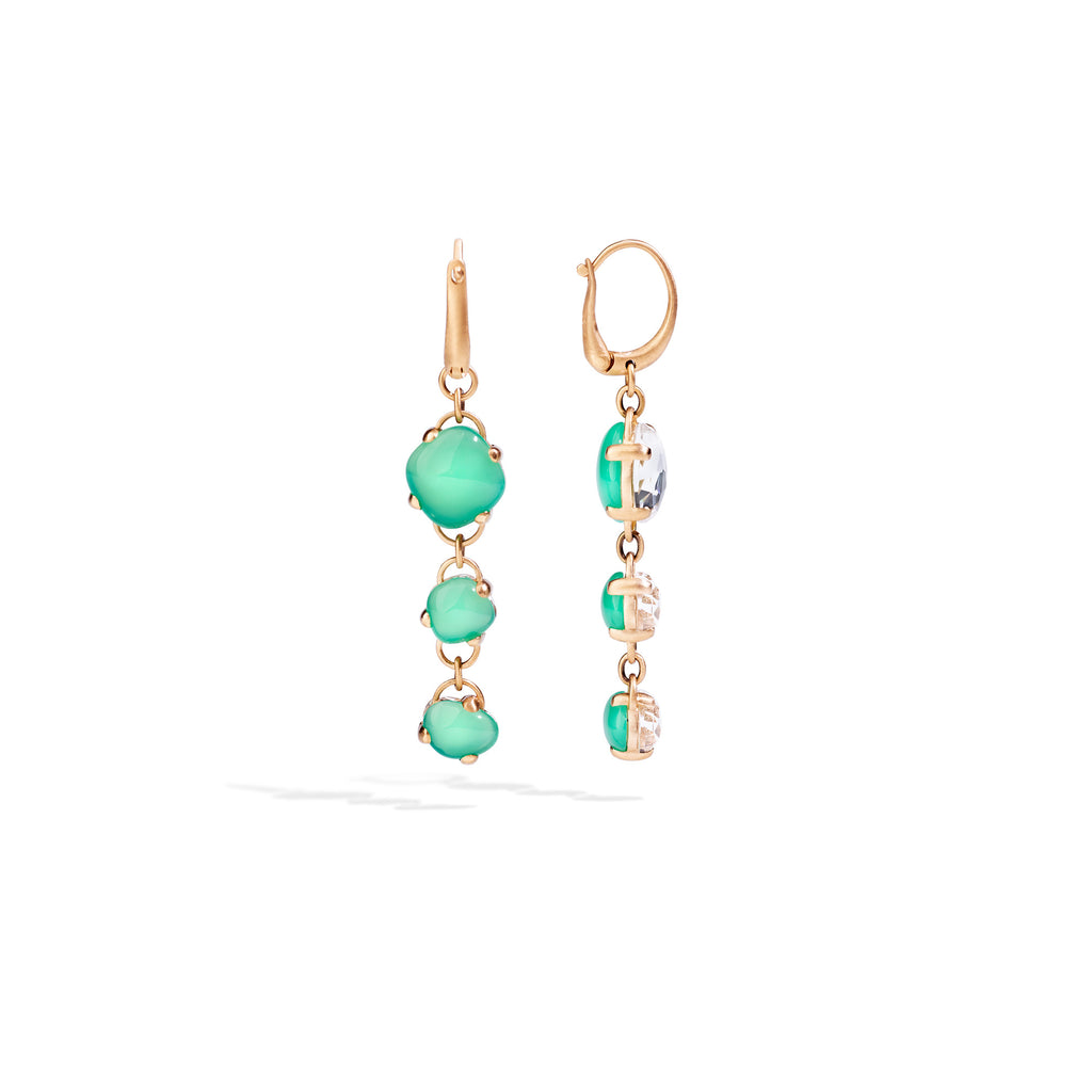 Capri Earrings in Matt Rose Gold with Chrysoprase and Rock Crystal