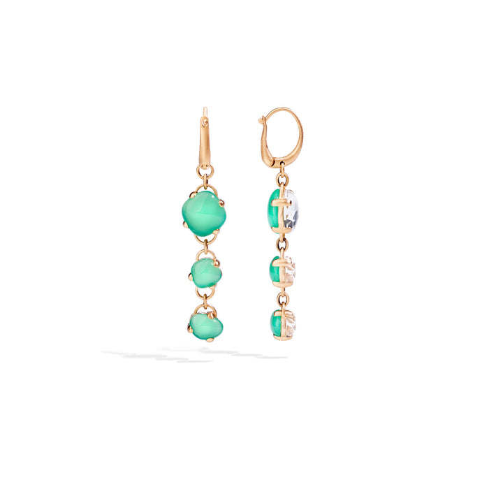 Capri Earrings in 18k Rose Gold with Rock Crystal and Chrysoprase