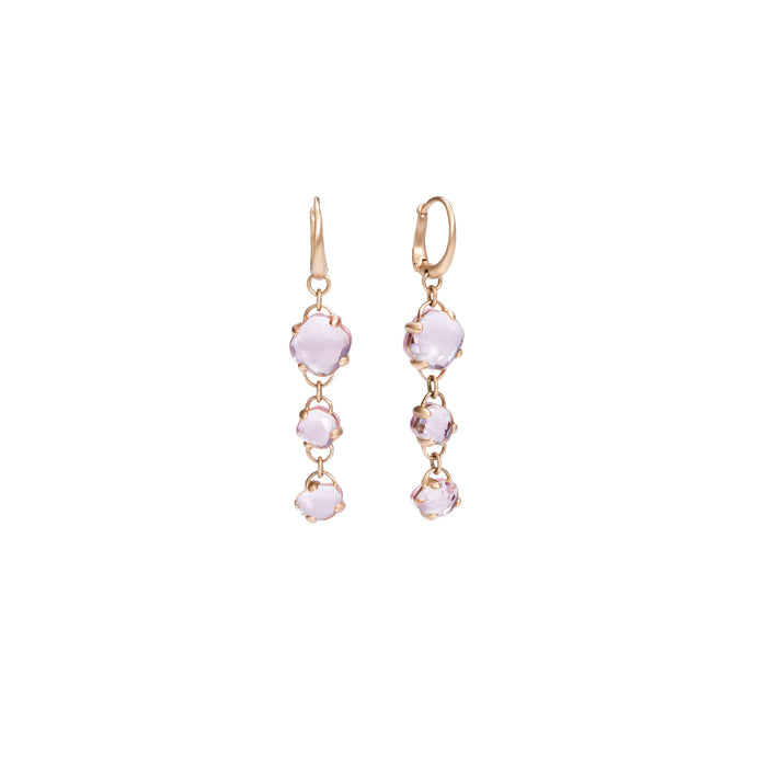 Capri Earrings in 18k Rose Gold with Rock Crystal and Pink Quartz