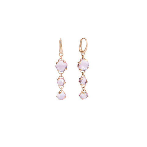 Capri Earrings in Matt Rose Gold with Pink Quartz and Rock Crystal