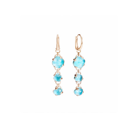 Capri Earrings in Matt Rose Gold with Turquoise and Rock Crystal