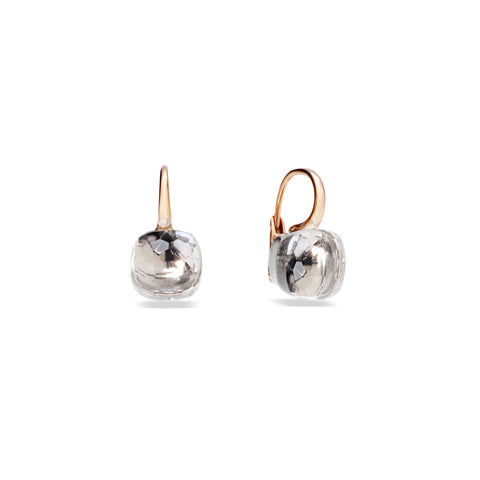 Large Nudo Earrings in Rose Gold and White Gold with White Topaz