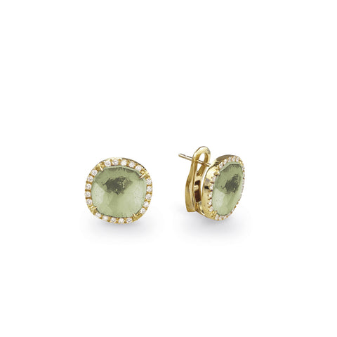 Jaipur green amethyst or blue topaz earrings surrounded with diamonds