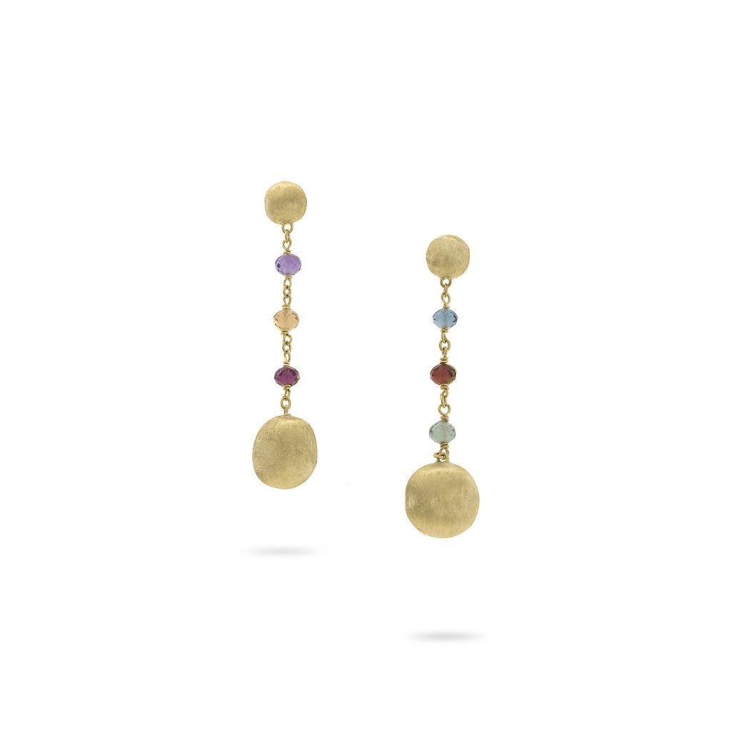 Africa Gemstone 4 Drop Earrings in 18k Yellow Gold with Mixed Gemstones - Orsini Jewellers NZ