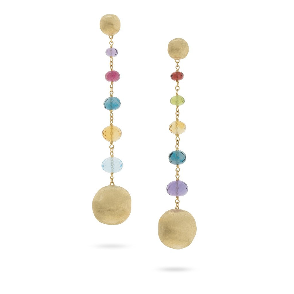Africa Gemstone 6 Drop Earrings in 18k Yellow Gold with Mixed Gemstones - Orsini Jewellers NZ