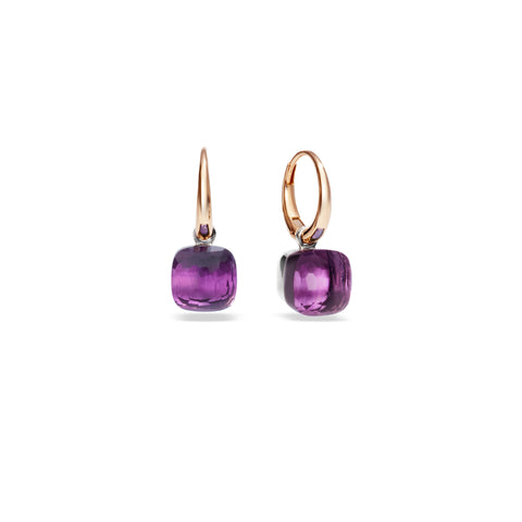 Nudo Earrings in Rose Gold and White Gold with Amethyst