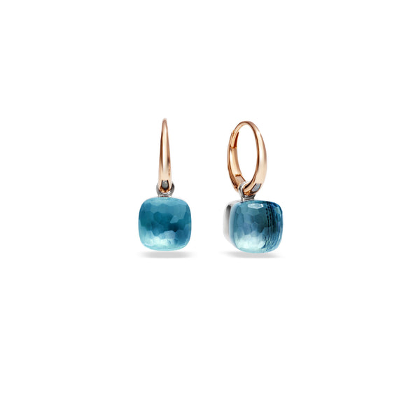 Nudo Earrings in Rose Gold and White Gold with Blue Topaz