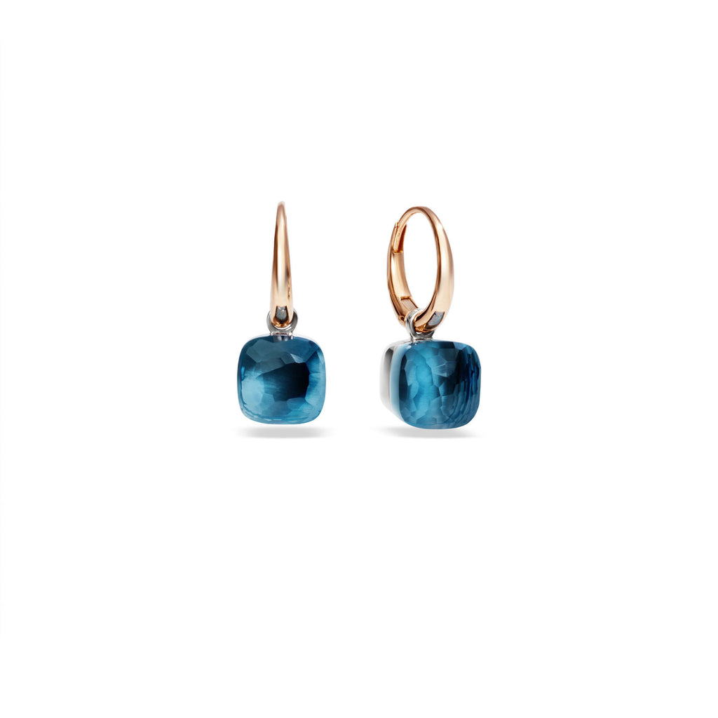 "Nudo London Blue Topaz ""piccolo"" Small Rose Gold Drop Earrings"