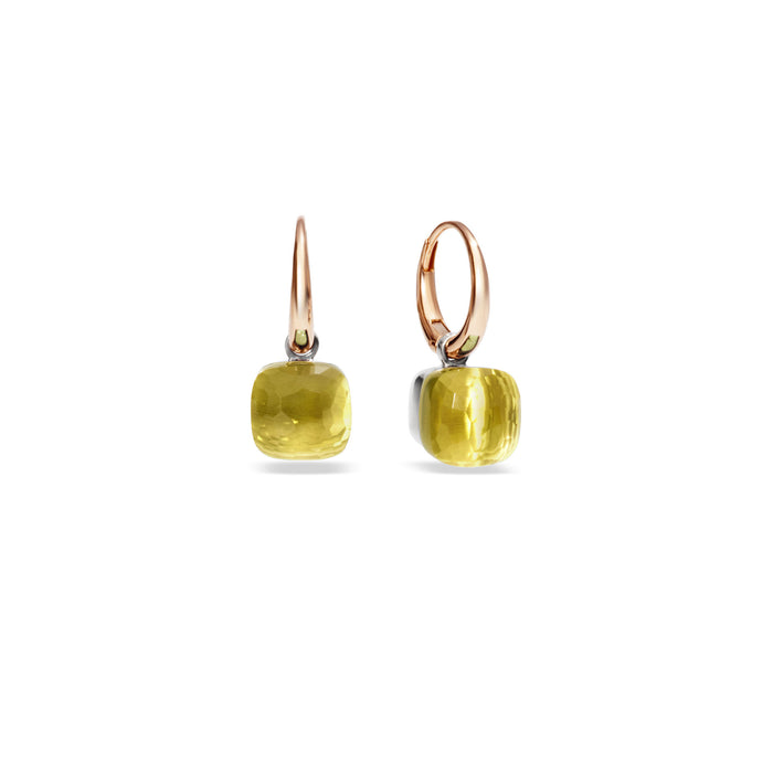 Nudo Petit Earrings in 18k Rose and White Gold with Lemon Quartz