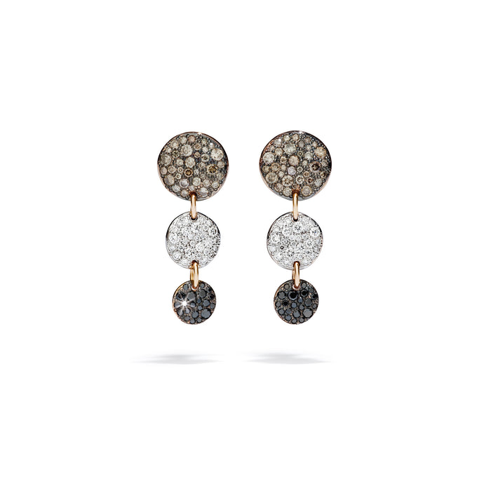 Sabbia Drop Earrings in 18k Rose Gold with Brown, Black and White Diamonds