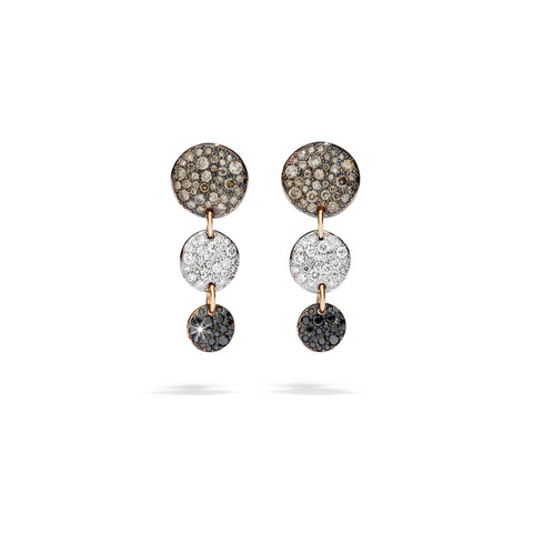 Sabbia White, Champagne & Black Diamond Drop Earrings