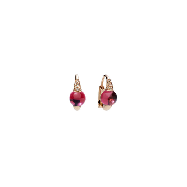 Mama Non Mama Rhodolite Garnet Gold Earrings with Brown Diamonds