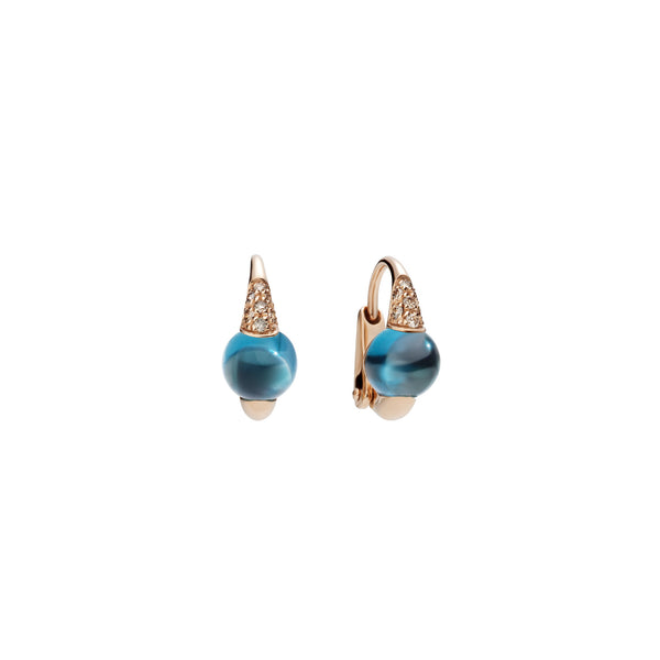 Mama Non Mama London Blue Topaz Gold Earrings with Diamonds